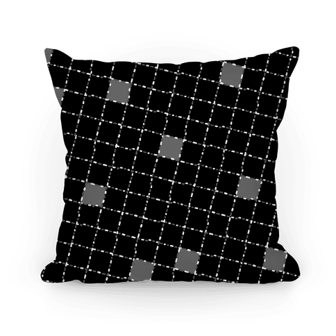 Black and White Dashed Checkers Pattern Pillow