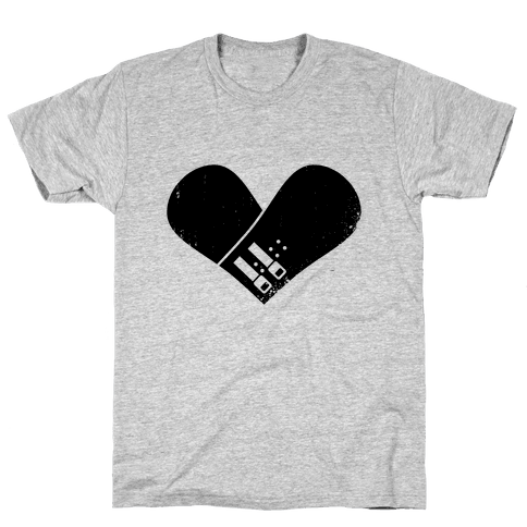 Snowboard Heart Mens T-Shirt