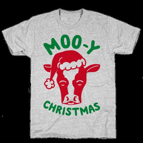 Moo-y Christmas  Mens T-Shirt