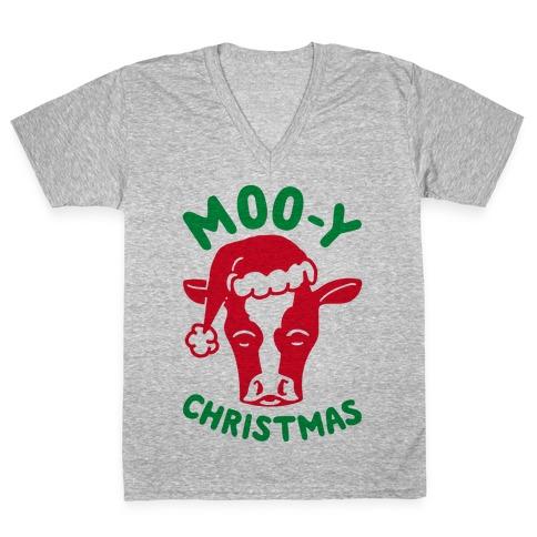 Moo-y Christmas V-Neck Tee Shirt