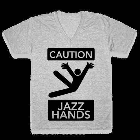 Caution: Jazz Hands V-Neck Tee Shirt
