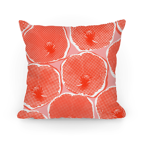 Large Red Poppy Flower Pattern Pillow