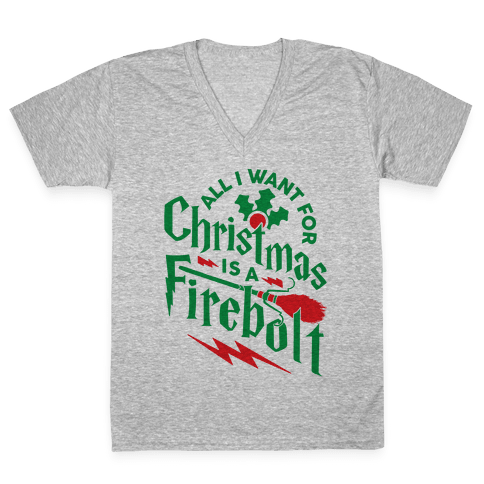 All I Want For Christmas Is A Firebolt V-Neck Tee Shirt
