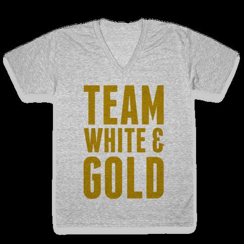 Team White And Gold V-Neck Tee Shirt