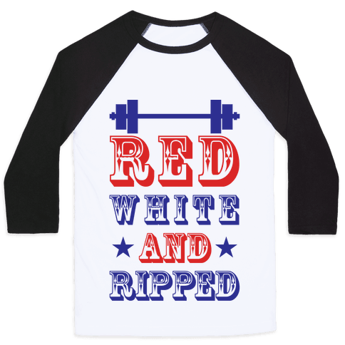 Red White and Ripped Baseball Tee