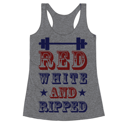 Red White and Ripped Racerback Tank Top