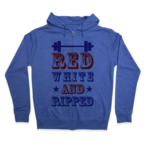 Red White and Ripped Zip Hoodie