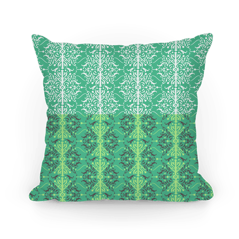 Green Medieval Ombre Pattern Pillow