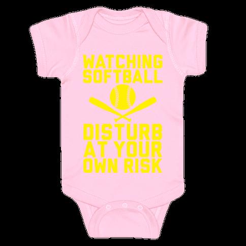 Watching Softball Baby Onesy