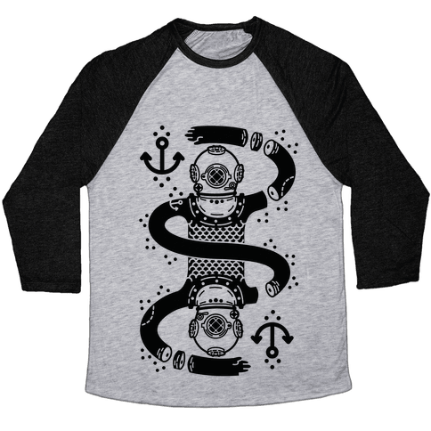 Diver Chopped and Reflected Baseball Tee