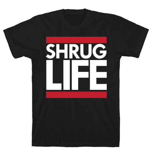 Shrug Life (Black Tank) Mens T-Shirt