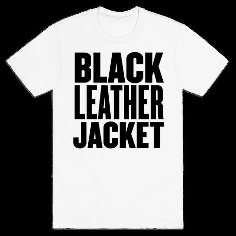 Black Leather Jacket Mens T-Shirt