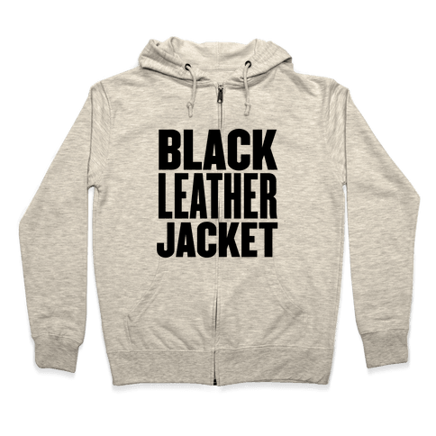Black Leather Jacket Zip Hoodie