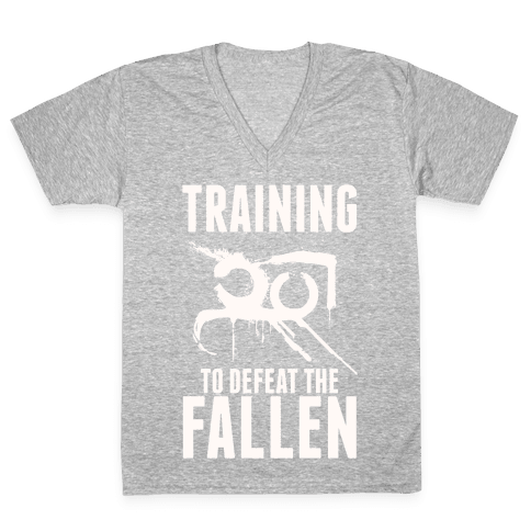 Training To Defeat The Fallen V-Neck Tee Shirt