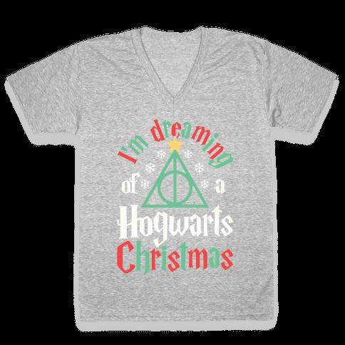 I'm Dreaming Of A Hogwarts Christmas V-Neck Tee Shirt