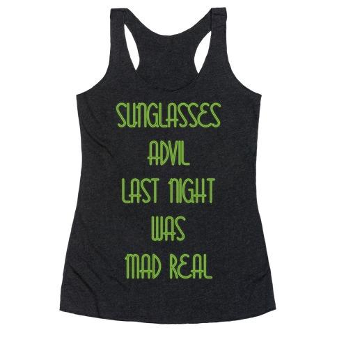 Sunglasses and Advil Racerback Tank Top