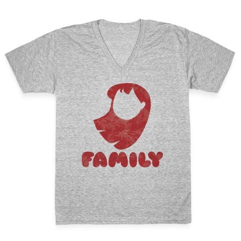 Ohana Means Family (family Half) V-Neck Tee Shirt