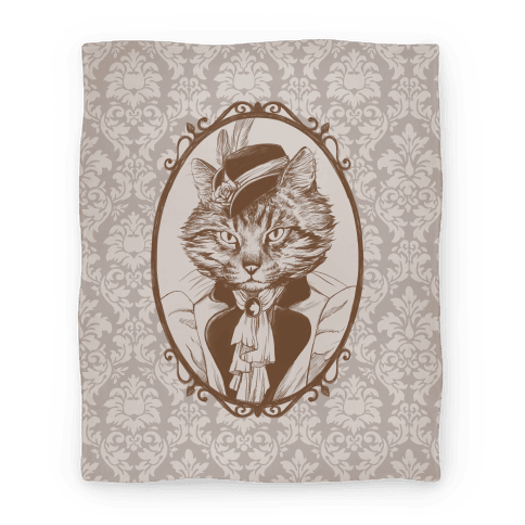 Victorian Portrait of Cat Lady Blanket