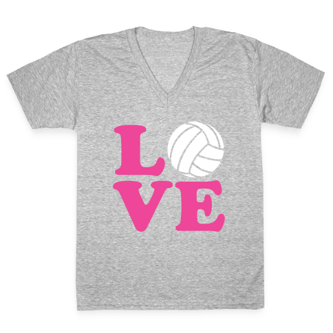 Love Volleyball V-Neck Tee Shirt
