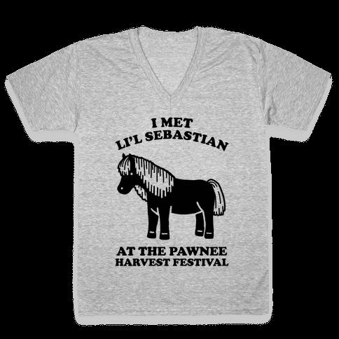 I Met Li'l Sebastian at the Pawnee Harvest Festival V-Neck Tee Shirt