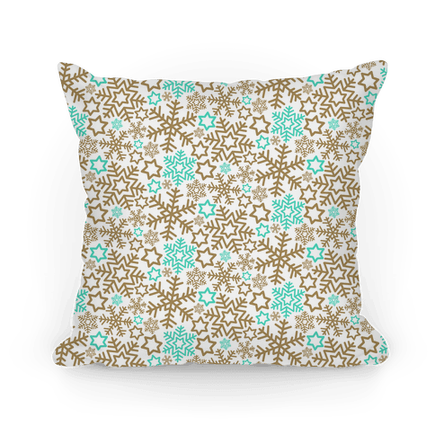 Winter Snowflakes Gold and Mint Pattern Pillow