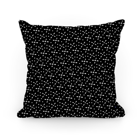 Black and White Abstract Floral Pattern Pillow