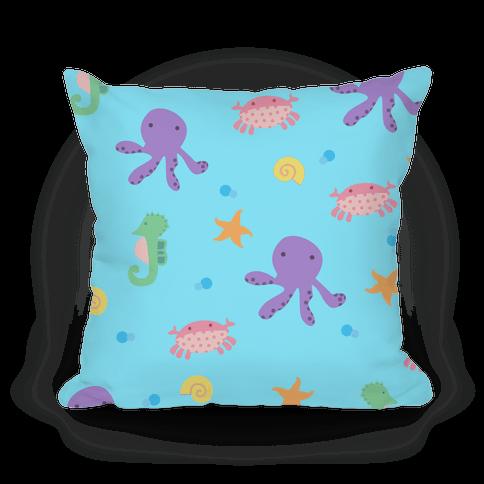 Sea Creature Pattern Pillow