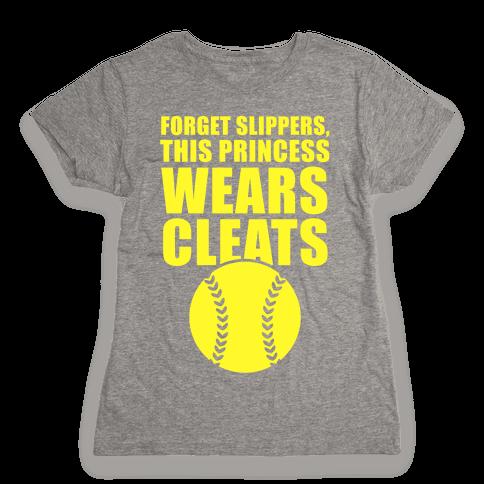 This Princess Wears Cleats (Softball) Womens T-Shirt