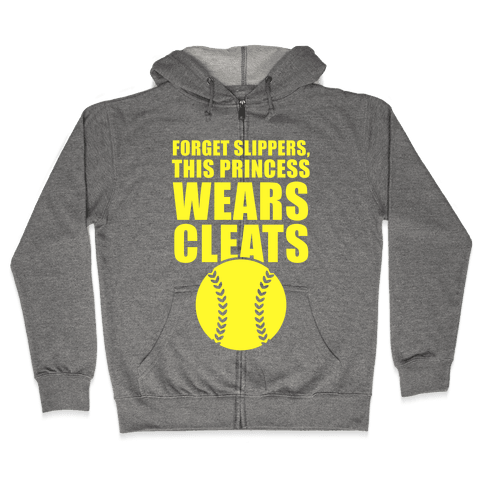 This Princess Wears Cleats (Softball) Zip Hoodie