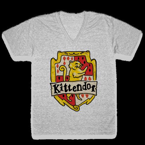 House Cats Kittendor V-Neck Tee Shirt