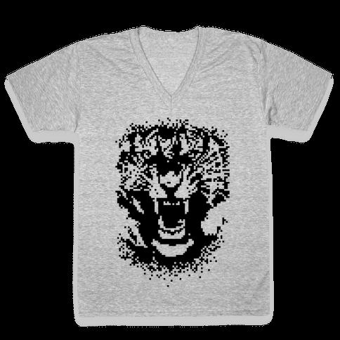 Pixel Tiger V-Neck Tee Shirt