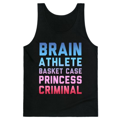 Brain, Athlete, Basket Case, Princess, Criminal (Breakfast Club) Tank Top