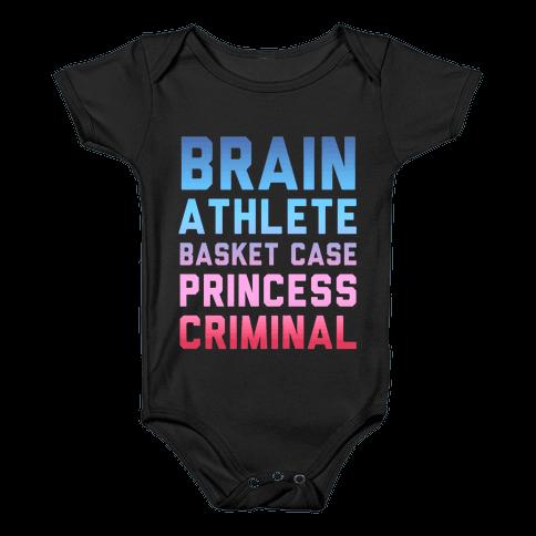Brain, Athlete, Basket Case, Princess, Criminal (Breakfast Club) Baby Onesy