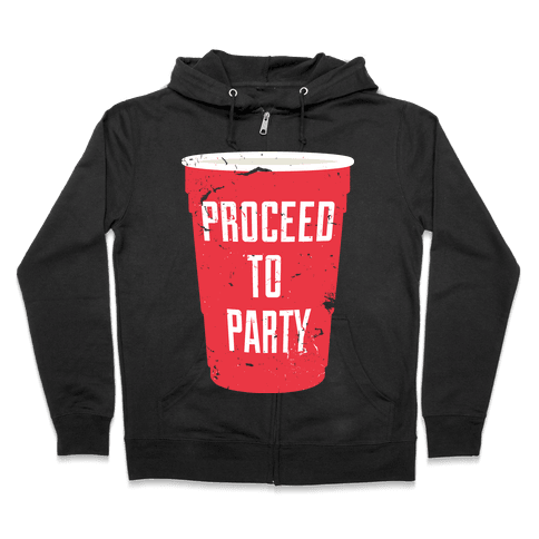 Proceed to Party (Dark) Zip Hoodie