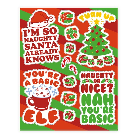 Funny Christmas Sticker/Decal Sheet