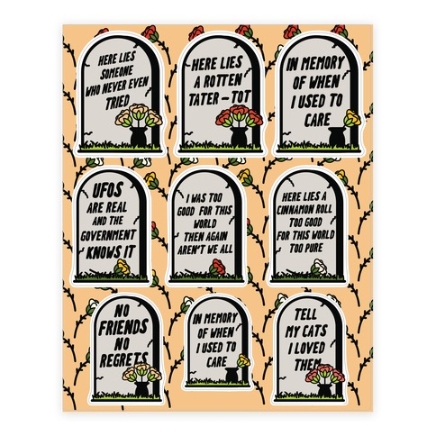 In Memory Of When I Used to Care Sticker and Decal Sheet