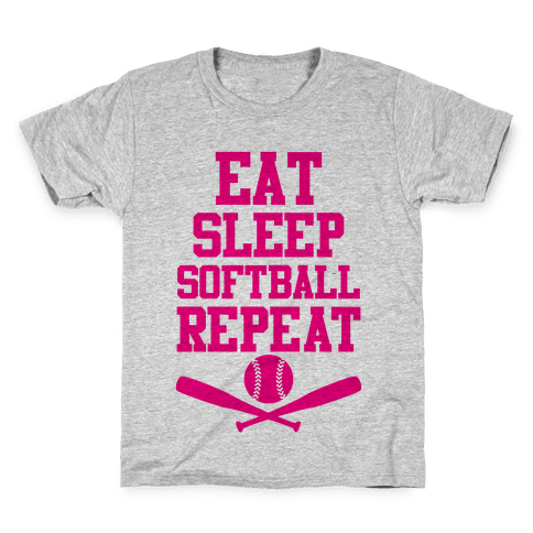 Eat Sleep Softball Repeat Kids T-Shirt
