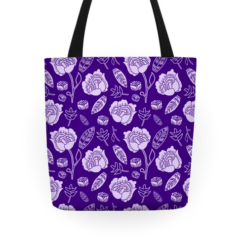 Floral and Leaves Pattern (Purple) Tote
