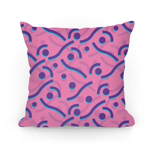 Pink And Purple 90's Pattern Pillow