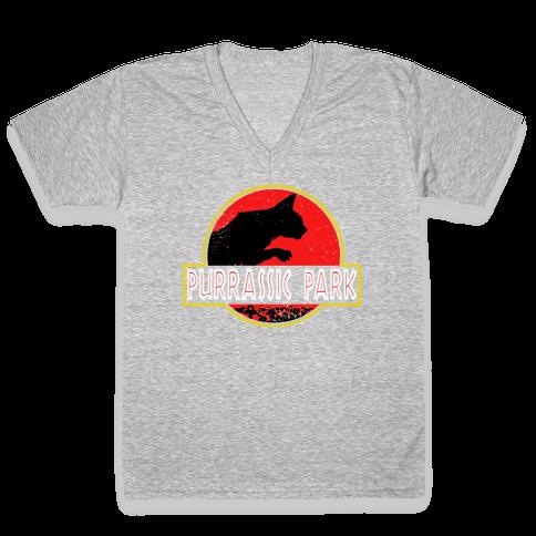 Purrassic Park V-Neck Tee Shirt