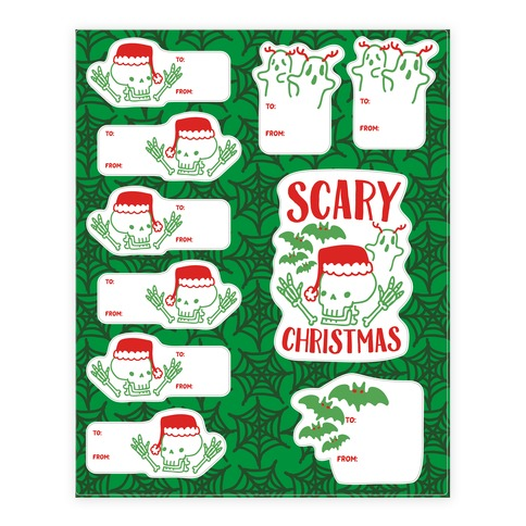Spooky Scary Christmas Gift Tag Sticker and Decal Sheet