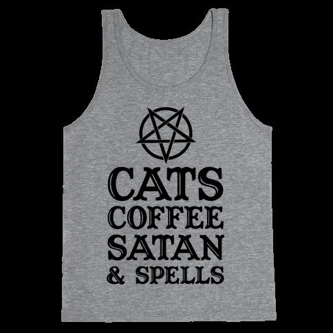 Cats Coffee Satan & Spells Tank Top