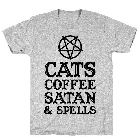 Cats Coffee Satan & Spells Mens T-Shirt