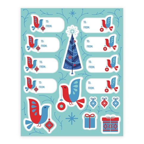 Vintage Christmas Tree Decorating Gift Tag Sticker and Decal Sheet