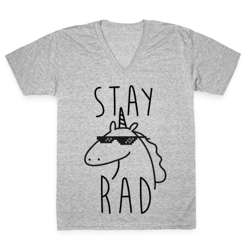 Stay Rad Unicorn V-Neck Tee Shirt