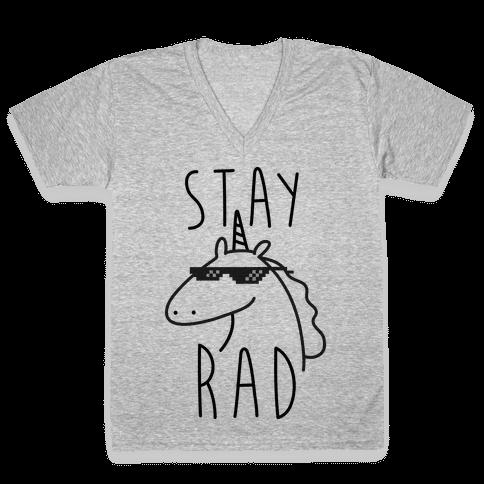 Stay Rad Unicorn V-Neck Tee Shirt