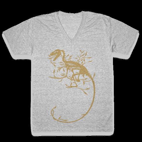 Floral Dinosaur V-Neck Tee Shirt