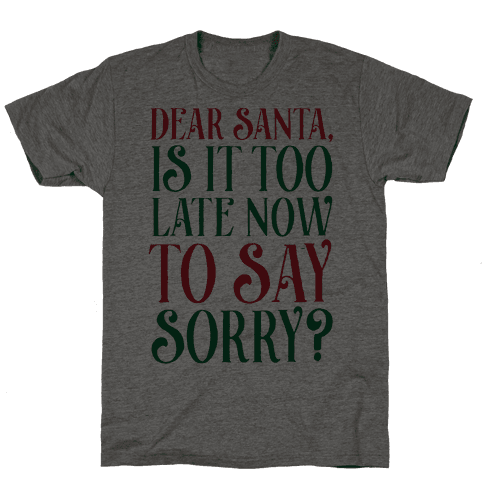 Dear Santa, Is It Too Late Now To Say Sorry? Mens T-Shirt
