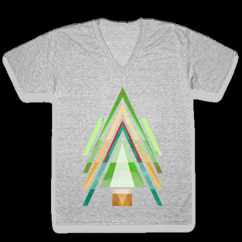 Geometric Summer Tree V-Neck Tee Shirt