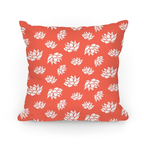 Orange Lotus Flower Pattern Pillow
